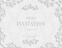 Vector White 3d Vintage Invitation Card with Floral Damask Pattern. Vector White Vintage Background with 3d Floral Damask Pattern Template for Greeting or Stock Image