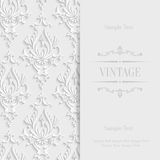Vector White 3d Vintage Invitation Card with Floral Damask Pattern Royalty Free Stock Image