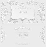 Vector White 3d Vintage Invitation Card with Floral Damask Pattern. Vector White 3d Vintage Background with Floral Damask Pattern for Wedding or Invitation Card Royalty Free Stock Image