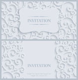 Vector White 3d Vintage Invitation Card with Floral Damask Pattern. 3d Swirl Background with Floral Damask Curl Pattern for Greeting or Invitation Card Design in Stock Images
