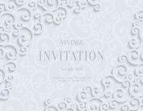 Vector White 3d Vintage Invitation Card with Floral Damask Pattern. White 3d Floral Swirl Horizontal Background with Curl Pattern for Wedding or Invitation Card Stock Photos