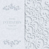 Vector White 3d Vintage Invitation Card with Swirl Damask Pattern. Floral Curl White Background with 3d Swirl Damask Pattern for Wedding or Invitation Card Stock Photo