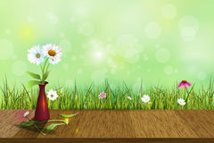 Vector white daisy flower in red vase on wood floor Royalty Free Stock Photos