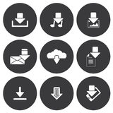 Vector white download icons set Stock Photo
