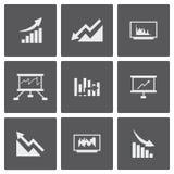 Vector white economic icons set. On black background Royalty Free Stock Photos
