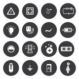 Vector white electricity icons set Royalty Free Stock Image