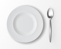 Vector White Empty Soup Plate with Silver Table Spoon Top View Isolated on White Background. Table Setting. Vector White Empty Round Soup Plate with Silver Table Stock Photography