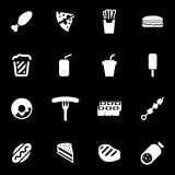 Vector white fastfood icon set Stock Images