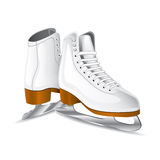 Vector white figure skates. White figure skates over white background. Vector illustration Royalty Free Stock Image