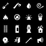 Vector white firefighter icon set. On black background Royalty Free Stock Photos