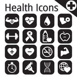 Vector white fitness and health icon Royalty Free Stock Photography