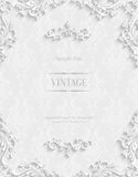 Vector White Floral 3d Background. Template for Christmas Invitation Cards Royalty Free Stock Image