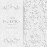 Vector White Floral 3d Christmas Invitation Background Template Stock Image