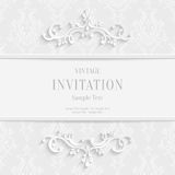 Vector White Floral 3d Christmas Invitation Cards Background Royalty Free Stock Photography