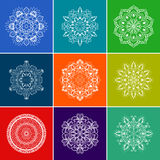 Vector White Floral Mandala Set over Color Background Stock Photography