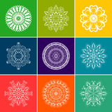 Vector White Floral Mandala Set over Color Background Stock Image