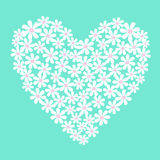 Vector white flowers in heart shape Stock Photography