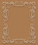 Vector white frame with curls on a brown background Royalty Free Stock Photos