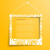 Vector white frames on the yellow wall. Picture frame and shadow with Floral ornament Royalty Free Stock Photography