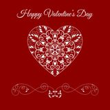 Vector Fretwork Floral Heart Over Red. Happy Valentines Day Holiday Royalty Free Stock Images