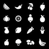 Vector white fruit and vegetables icons set. On black background Royalty Free Stock Photography
