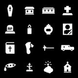 Vector white funeral icons set Stock Photos