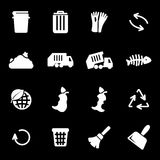 Vector white garbage icons set Royalty Free Stock Photography