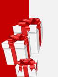 Vector White gift box with red ribbon bow. Vector White gift box with shiny red ribbon bow Stock Photos