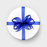 Vector White Gift Box with Transparent Blue Bow and Ribbon Stock Photos