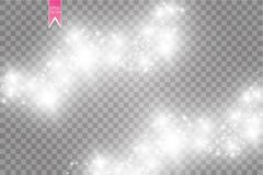 Vector white glitter wave abstract illustration. White star dust trail sparkling particles isolated on transparent. Background. Magic concept vector illustration