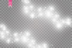 Vector white glitter wave abstract illustration. White star dust trail sparkling particles isolated on transparent. Background. Magic concept royalty free illustration