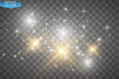 Vector white glitter wave illustration. White star dust trail sparkling particles isolated on transparent background. Royalty Free Stock Photography