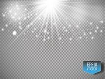 Vector white glitter wave illustration. White star dust trail sparkling particles on transparent background. Magic concept stock illustration