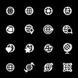 Vector white globe icons set. On black background Royalty Free Stock Photo