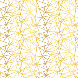 Vector White and Gold Foil Wire Geometric Mosaic Triangles Repeat Seamless Pattern Background. Can Be Used For Fabric stock illustration