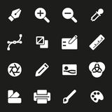 Vector white graphic design icons set. On black background Stock Images