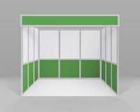 Vector White Green Blank Indoor Trade exhibition Booth Standard Stand for Presentation with Background Royalty Free Stock Images