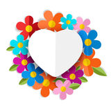Vector white heart on the color flowers. Valentines day backgrou Royalty Free Stock Photography