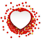 Vector white heart on the red and gold confetti. Valentines day Royalty Free Stock Photos