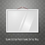 Vector white horizontal photo frame hanging on the. Vector white horizontal photo or picture frame hanging on the wall with weave pattern behind, with glass Royalty Free Stock Image