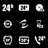 Vector white 24 hours icon set.  Royalty Free Stock Photo