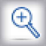 Vector white icon magnifier pixel. Royalty Free Stock Photography