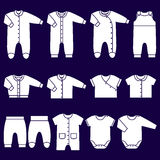 Vector white icons of baby clothes. Royalty Free Stock Photos