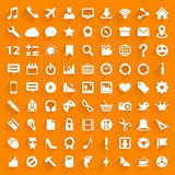 Vector white icons with drop shadow. Royalty Free Stock Photo