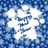 Vector white ink splashes over blue snowflakes background. Vector white ink splashes with hand-drawn Happy New Year over blue snowflakes background. Element for Royalty Free Stock Photo