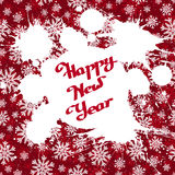 Vector white ink splashes over red snowflakes background. Vector white ink splashes with hand-drawn Happy New Year over red snowflakes background. Element for Stock Photo