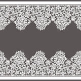 Vector White Lace Borders. Seamless Pattern. Brown Background Royalty Free Stock Photography