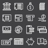 Finance and banking icons set. Vector white line finance and banking icons set Royalty Free Stock Photo