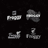 Vector white logo set with Frog. Royalty Free Stock Photography