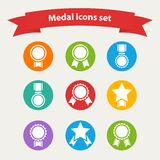 Vector white medal,award icons set Royalty Free Stock Photos